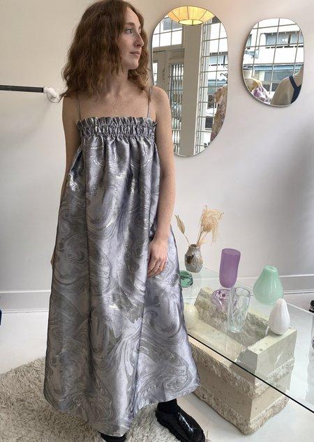 Ganni Shiny Jacquard Dress - Silver