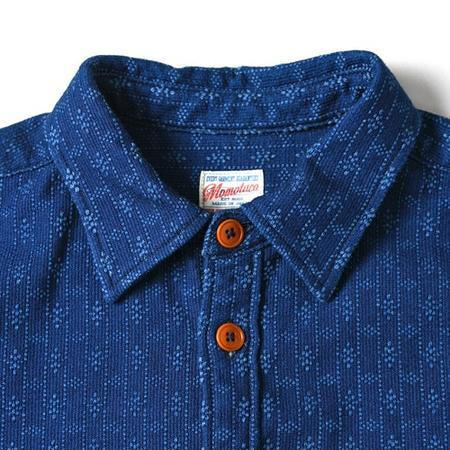 Momotaro Jeans Kasuri Sashiko Work Shirt - Indigo