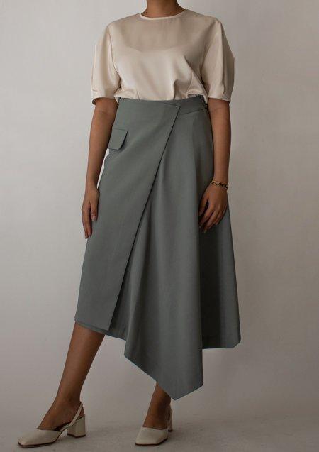 W A N T S Asymmetrical Length Midi Skirt - Sage