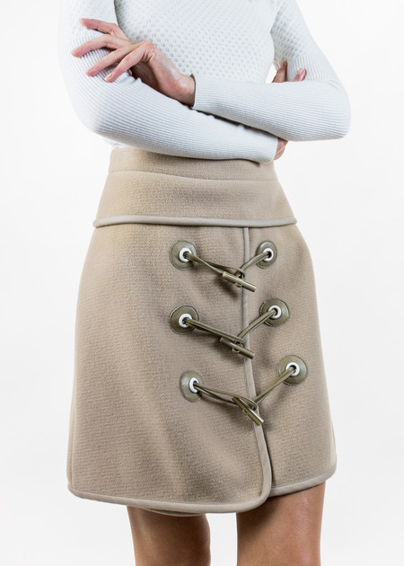 Carven Camel Mini Felted Toggle Skirt