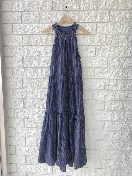 Apiece Apart Nissi Tiers Dress - Silver Lurex