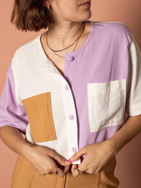 Pastiche Bahia Crop Shirt - purple/brown/white