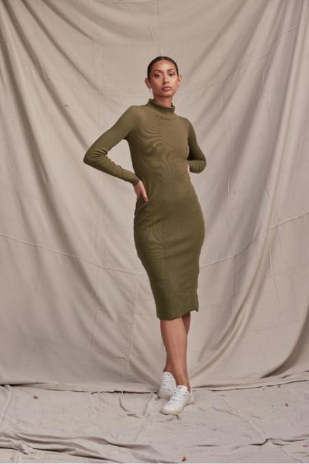 Lois Hazel Skivvy Rib Dress - Olive
