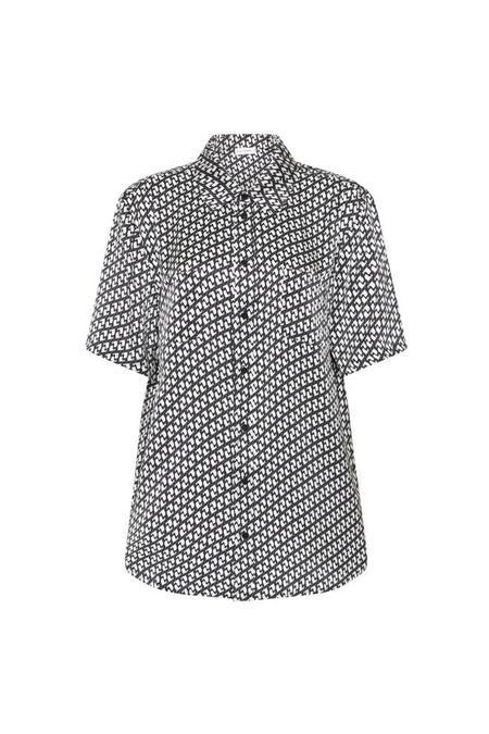 Silk Laundry Short Sleeve Boyfriend Shirt - Cranes