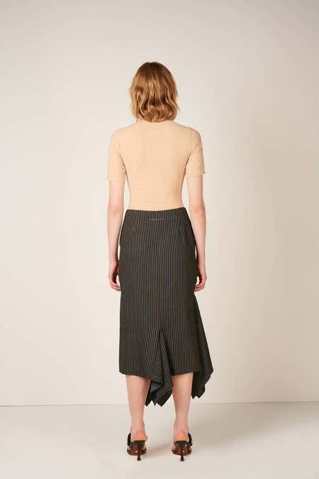 Asymmetric pinstriped midi skirt - Black/Blue/Yellow