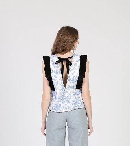 Aurore Van Milhem Jade Top - black/white/blue