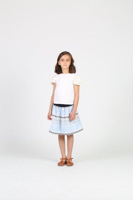 kids Little Olin Blue Gathered Skirt - blue/white