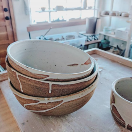 Whiskey + Clay Large Serving Bowl - natural/white