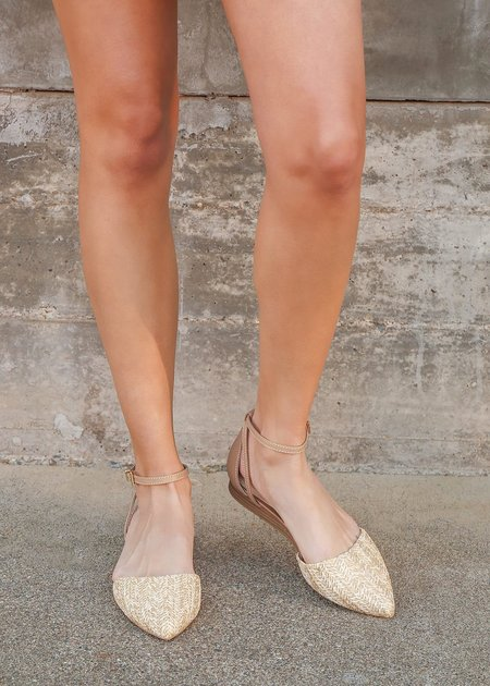 Mabel and Moss Raffia Strappy Flats - Natural