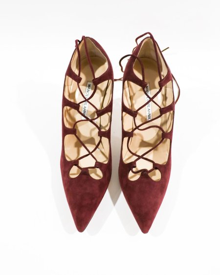 [Pre-loved] Manolo Blahnik Suede Caged Lace Up Pumps - Burgundy