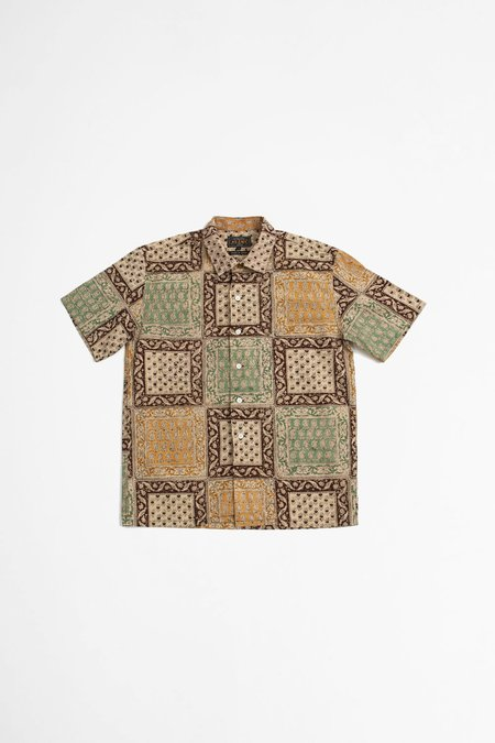 Beams Plus Open Collar Block Print Shirt - Light Brown