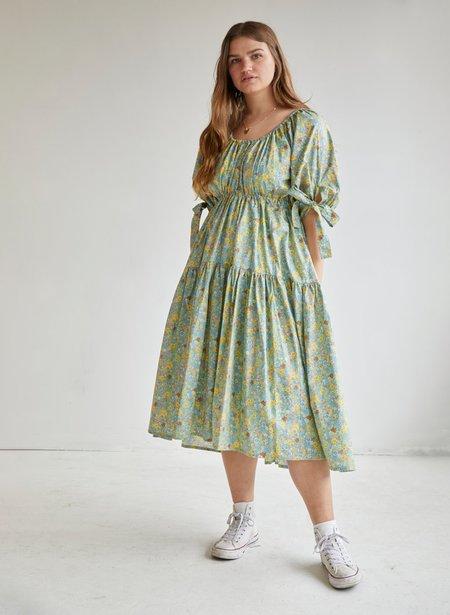 Eliza Faulkner Floral Cotton Jolen Dress - Green
