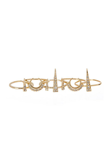 Luv Aj Crescent Spike Ring Set