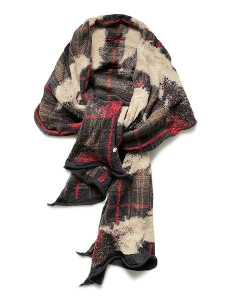 Kapital Compressed Wool Feather TARTAN Scarf - Black