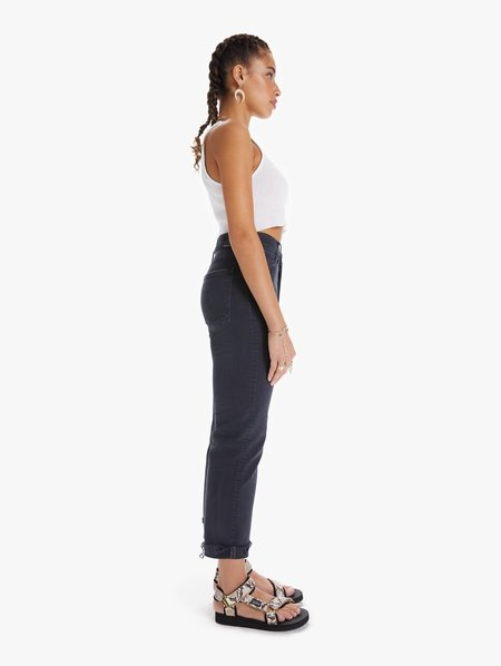 Mother Denim The Scrapper Cuff Ankle Fray Jeans - Faded Black