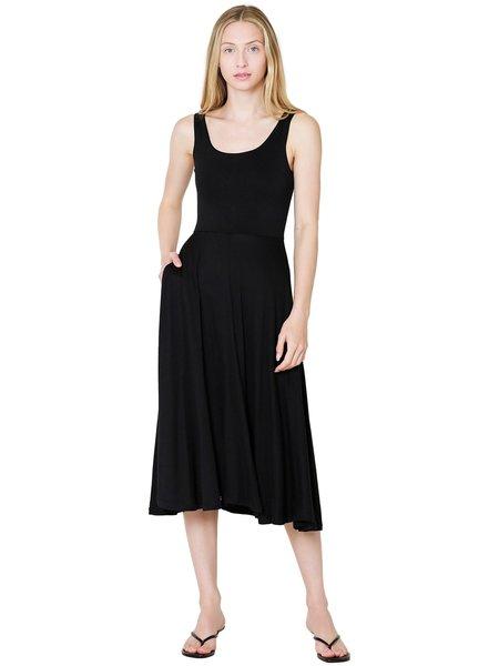 Vince Full Skirt Square Neck Dress - Black