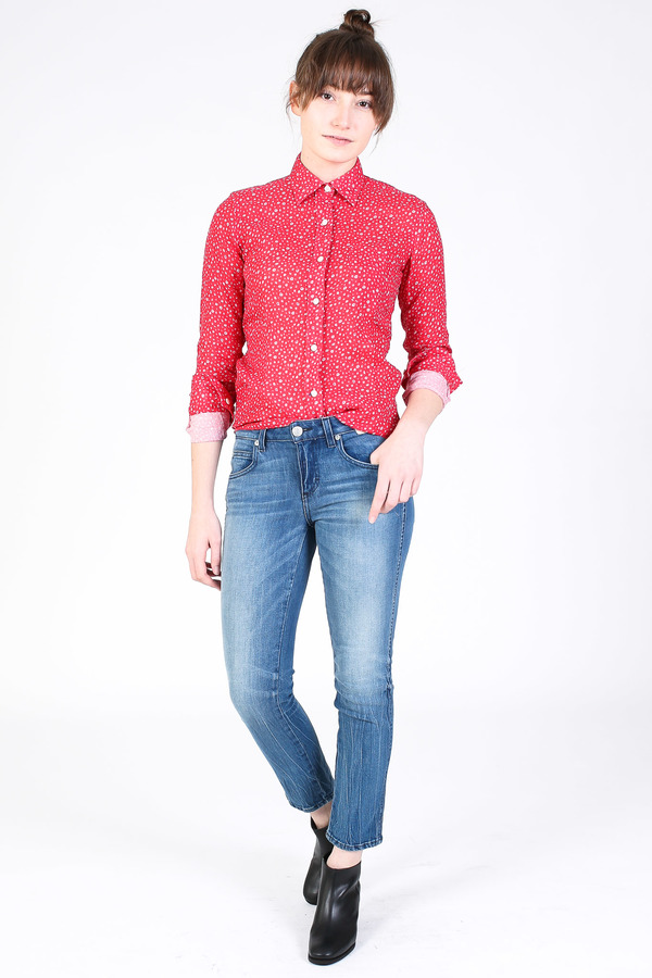 Vert & Vogue Button down shirt in red floral