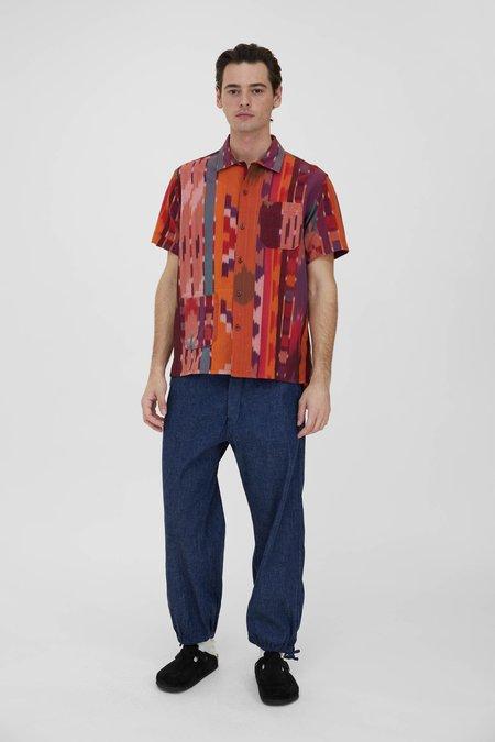 Engineered Garments Cotton Ikat Camp Shirt - Red/Orange