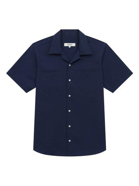 Freemans Sporting Club  Overdyed Seersucker Short Sleeve Camp Collar Shirt - Navy