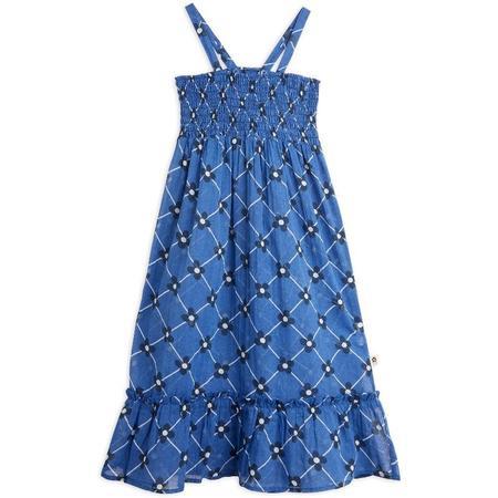 kids mini rodini flower check woven smock dress - blue