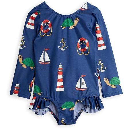 Kids mini rodini turtle float long sleeve uv swimsuit - navy