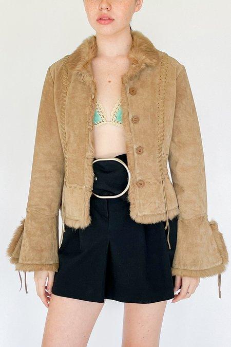 Vintage Lace Up Suede Fur Jacket - beige