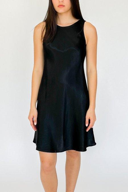 Vintage Bias Cut Satin Dress - Black