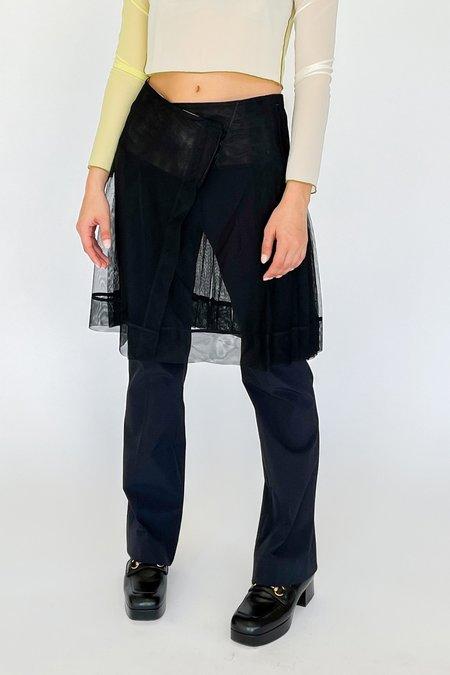Vintage Mesh Layered Wrap Skirt - black