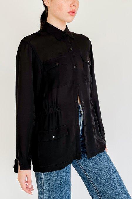 Vintage Sheer Silk Cargo Tunic Shirt - black