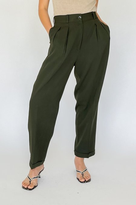 Vintage High Rise Pleated Trousers - Forest
