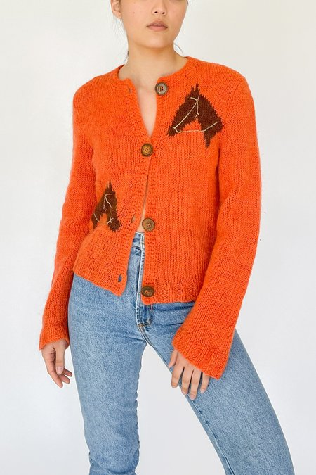 Vintage Hand Knit Mohair Horse Cardigan Sweater