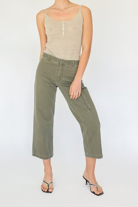 Vintage Low Rise Cropped Cargo Pants - Olive