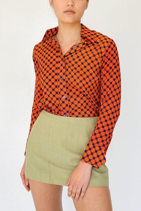 Vintage Geometric Print Shirt - Tangerine