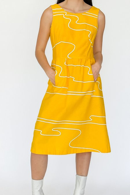 Vintage Dress - Yellow Abstract Swirl