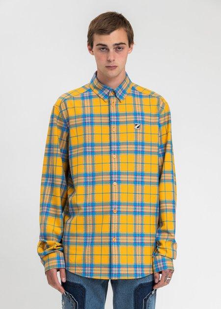we11done checked Logo Print Shirt - Yellow