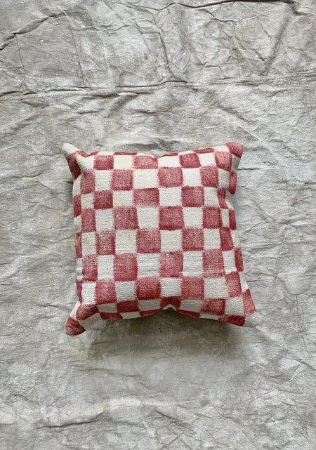 Cuttalossa & Co. Hand painted Checkered Large Throw Pillow - Brick