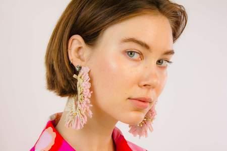 La Double J J Earrings - Rose/Cream