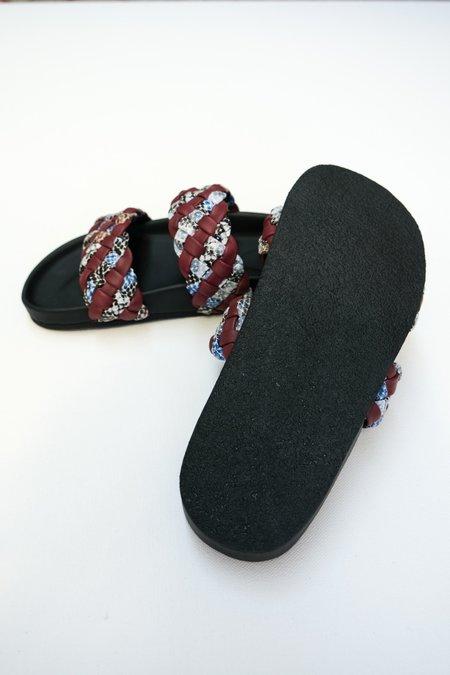 Rachel Comey Fletch Leather Sandal - Blue Snake Print