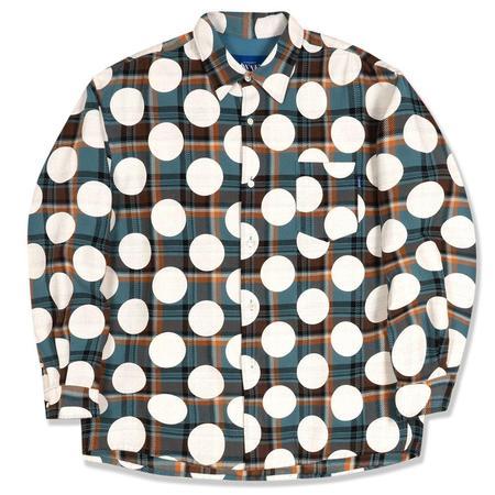 AWAKE Polka Dot Flannel Shirt - Dusty Blue