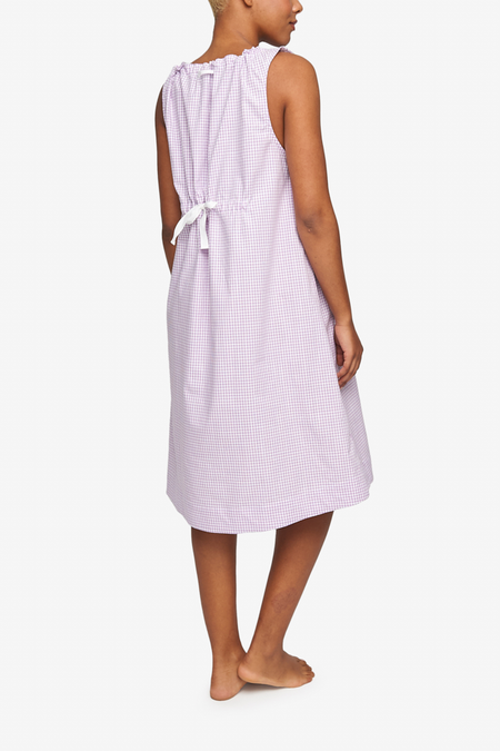 The Sleep Shirt Sleeveless Gingham Dot Nightie - Lilac