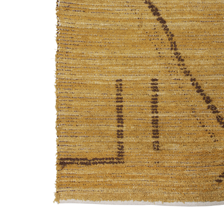 HKliving  Hand Woven Cotton Rug - Ochre/Brown