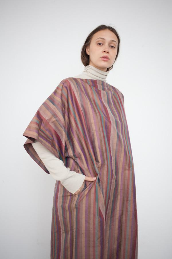 Electric Feathers Convertible Rectangle Kaftan in Silk Stripe