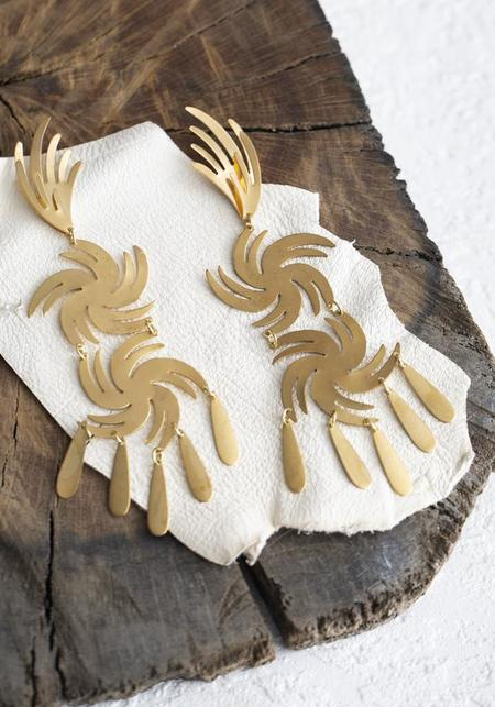 We Dream in Colour Comet Earrings - brass/sterling silver