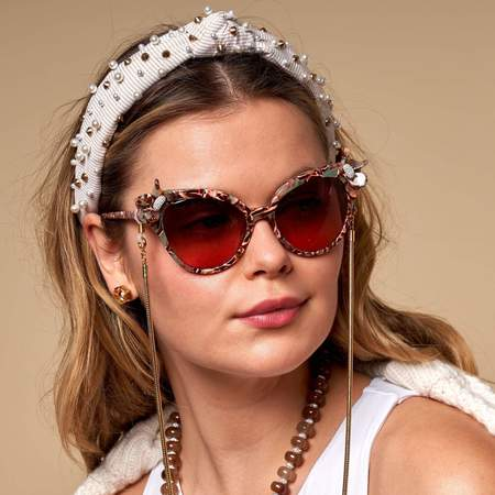 LeLe Sadoughi Seersucker Embellished Slim Knotted Headband - Khaki Seersucker