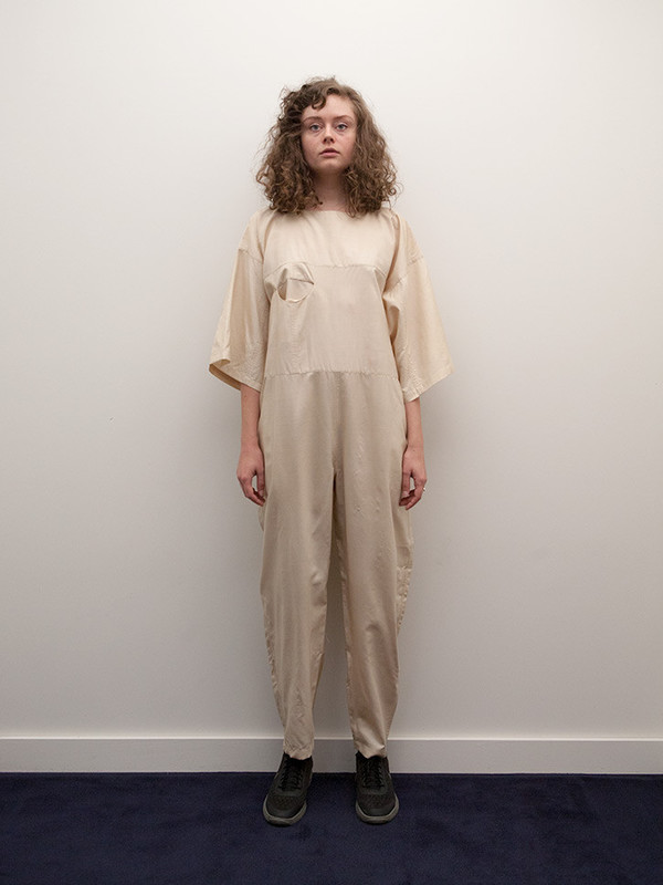 Electric Feathers Boat Jumpsuit, Straw