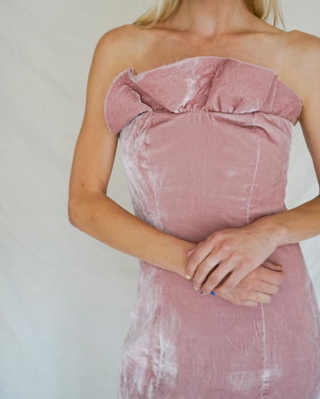 Pre-loved Cinq A Sept Marceau Velvet dress - Pale Pink