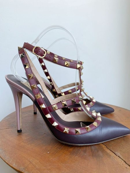 [PRE-LOVED] Valentino Rockstud Burgundy Ankle Heels