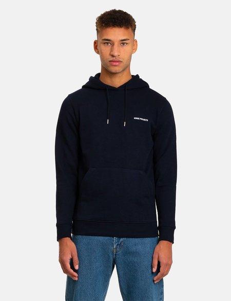Norse Projects Vagn Logo Hooded Sweatshirt - Dark Navy Blue