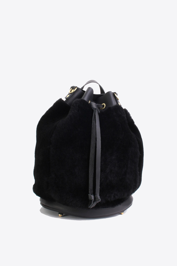 No.6 Store Shearling bucket backpack in black