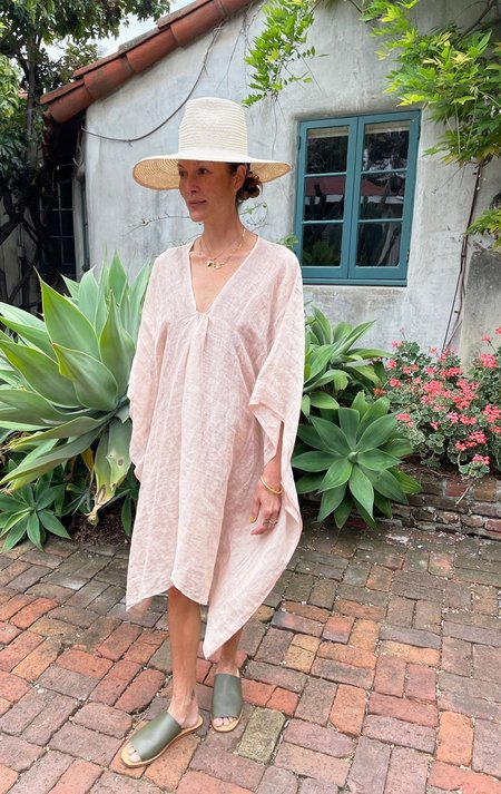 Two Short Linen rose caftan DRESS - Shimmering Rose
